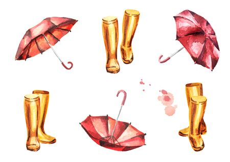 Yellow rubber boots and red umbrellas set. Watercolor hand-drawn illustrations