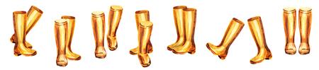 Set di stivali in gomma gialla. Illustrazione a mano dipinto ad acquerello Archivio Fotografico - 84376298