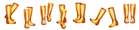 Yellow rubber boots set. Watercolor hand-drawn illustration