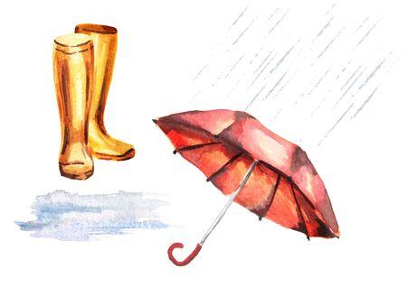 Rain set with umbrella, rubber boots, puddle, raindrops. Watercolor hand-drawn illustration Stock Photo
