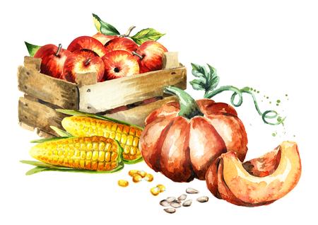 Herbsternte. Aquarell handgezeichnete Abbildung Standard-Bild - 84917257