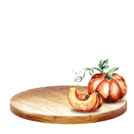 Background with platter and pumpkin. Watercolor hand-drawn illustration