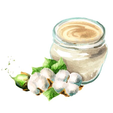 Cream with cotton extracts. Jar and a plant. Watercolor hand-drawn illustration