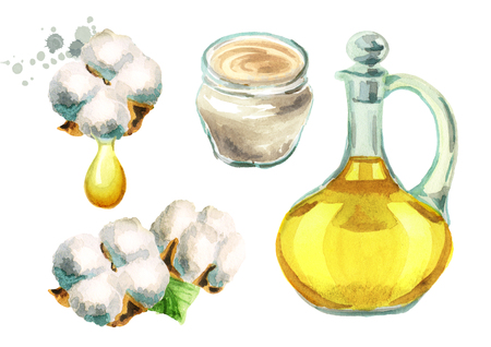 Cotton plant, cottonseeds oil, Cream with cotton extracts. Watercolor hand-drawn illustrations set Stock Photo