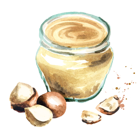 Macadamia butter. Watercolor hand drawing illustration