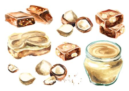 Macadamia sweets set with butter and chocolate. Watercolor hand drawing illustration Stock Photo