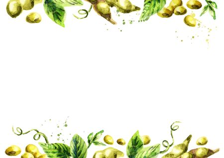 Organic Soybean template. Watercolor background