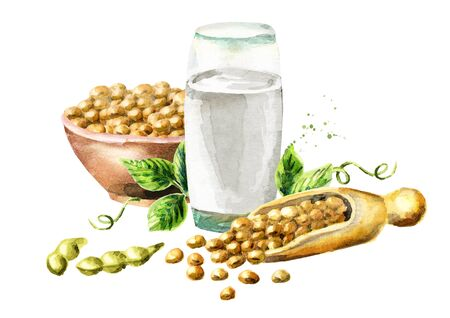Glass with Soy milk and soybeans composition. Watercolor hand drawn illustration. Stock Photo