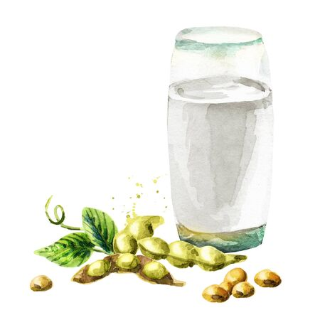 Soy milk. Watercolor hand drawn illustration. Banque d'images