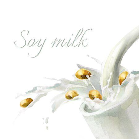 soy bean: Splash of Soy milk. Watercolor hand drawn illustration.