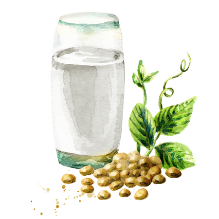 Glass of Soy milk. Watercolor hand drawn illustration.