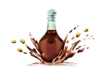 Soy sauce splash. Watercolor hand drawn illustration. Stock Photo