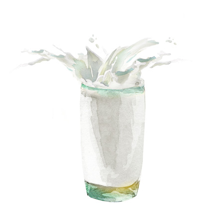 Glass of milk with splash. Watercolor hand drawn illustration.