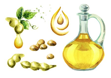 Soy oil set. Watercolor illustration