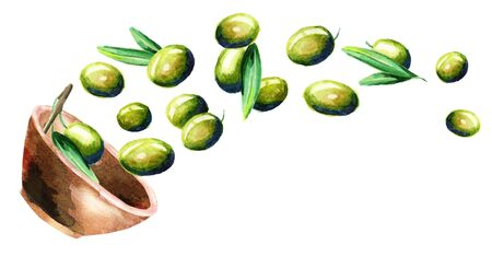 Bowl with green olives. Hand drawn horizontal watercolor illustration Stock Photo