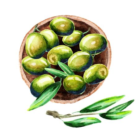 Plate of green olives, top view. Watercolor illustration