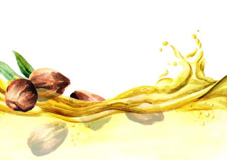Illustrazione di acquerello ondata di olio di Jojoba Archivio Fotografico - 89472997