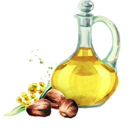 Jojoba oil. Watercolor hand drawing illustration Stock Photo