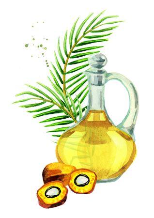 Palmölzusammensetzung. Hand gezeichnete Aquarellillustration Standard-Bild - 88998105