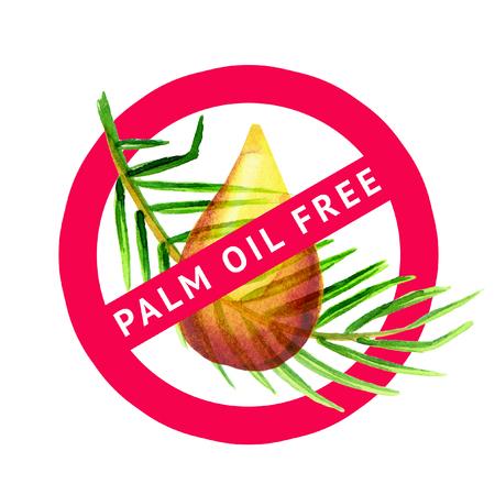 raw materials: Palm oil free simbol watercolor illustration Stock Photo