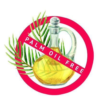 Palm oil free simbol. Watercolor illustration