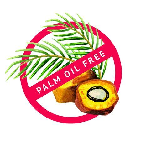 Palm oil free watercolor symbol Stock Photo