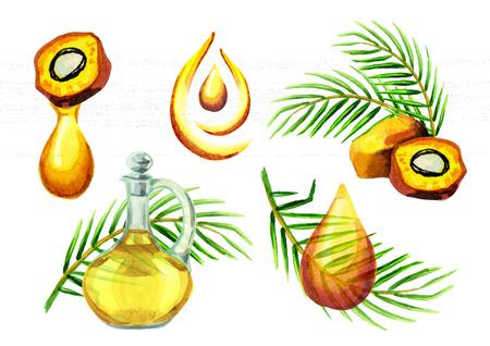 Palm oil simbols set. Watercolor hand drawn illustration Stock Photo