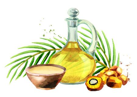 Ensemble d'huile de palme. Illustration aquarelle Banque d'images - 88933660