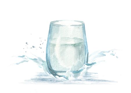 Glass of water and splash. Watercolor hand drawn illustration.