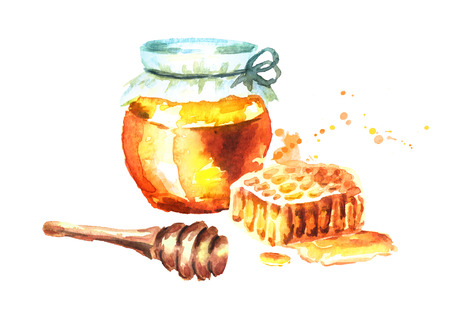 Fresh honey with Honeycombs and honey dipper. Watercolor hand drawn illustration