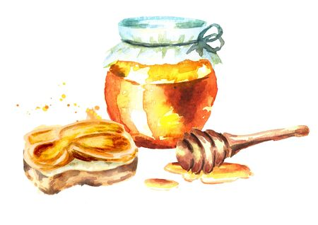 Glass and sandwich with Fresh honey. Watercolor hand drawn illustration Stock Photo