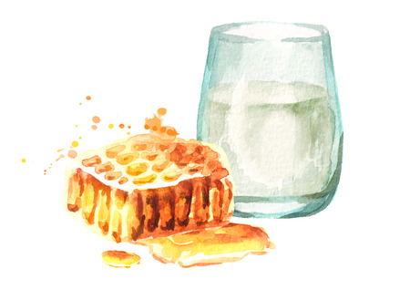 Glass of milk and natural fresh honeycomb. Watercolor hand drawn illustration