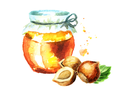 Fresh honey and hazelnut. Watercolor hand drawing illustration