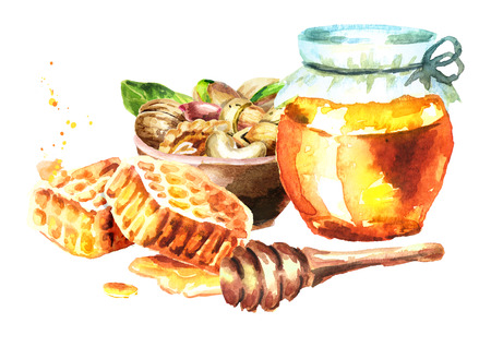 Fresh honey, honeycomb and bowl with nuts mix. Watercolor hand drawn illustration
