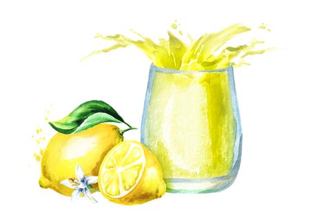 Glass of lemon juice with splash. Watercolor hand drawing illustration Foto de archivo