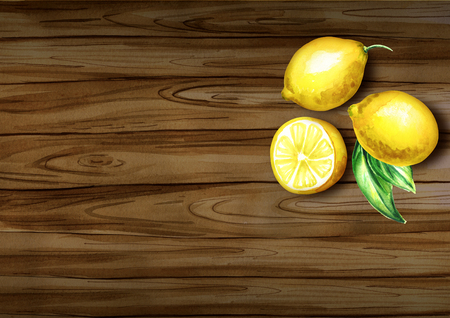 Fresh lemons top view on the border. Natural organic food. Watercolor hand drawn background