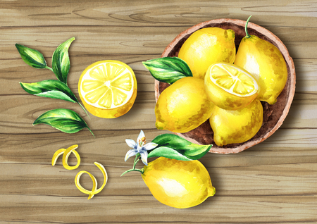 Fresh Lemons fruit in the platter on the board top view composition. Watercolor hand drawing illustration Stock Photo