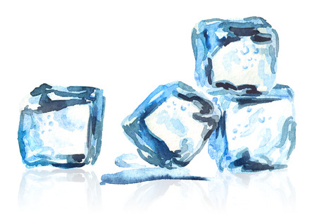 Ice cubes isolated composition. Watercolor hand drawing illustration