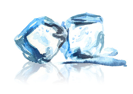 Ice cubes isolated on white background composition. Watercolor hand drawing illustration Stock fotó