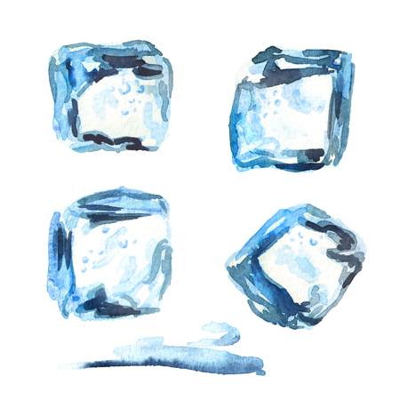 Ice cubes isolated on white background set. Watercolor hand drawing illustration Stock fotó