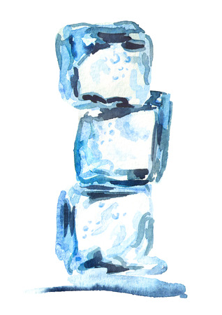 Ice cubes isolated on white background. Watercolor hand drawing illustration Stock Photo
