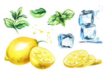 Ice cubes, lemon and mint leaves isolated on white background set. Watercolor hand drawing illustration Stock fotó