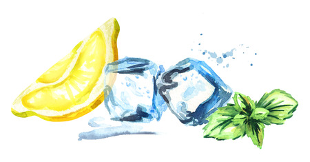 Ice cubes, lemon and mint leaves isolated on white background. Watercolor hand.