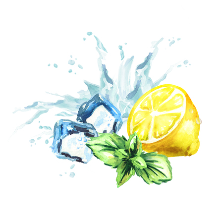 Ice cubes, mint leaves, water splash and lemon isolated on a white background.. Watercolor hand drawn illustration