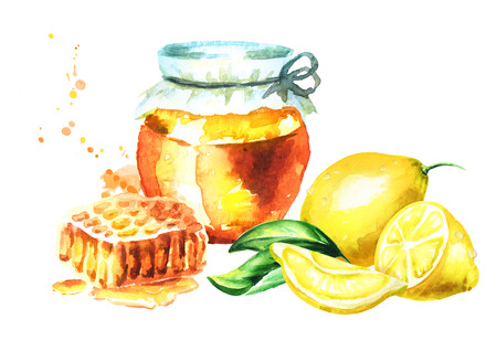 Glass jar with fresh honey, honeycomb and lemon fruit. Watercolor hand drawn illustration Stock Photo