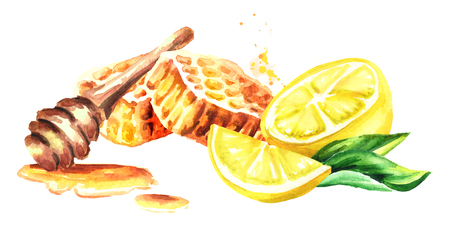 Honeycomb with honey dipper and lemon fruit. Watercolor hand drawn horizontal illustration