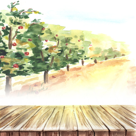 Empty table in fruit garden landscape. Hand drawn watercolor  template and background Standard-Bild