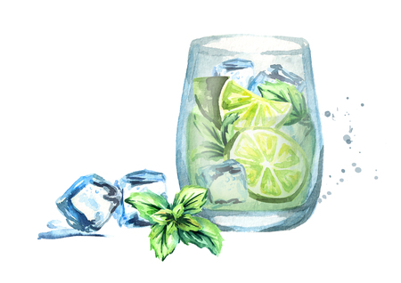 Glass of Mojito with ice, lime and mint. Watercolor hand drawn illustration