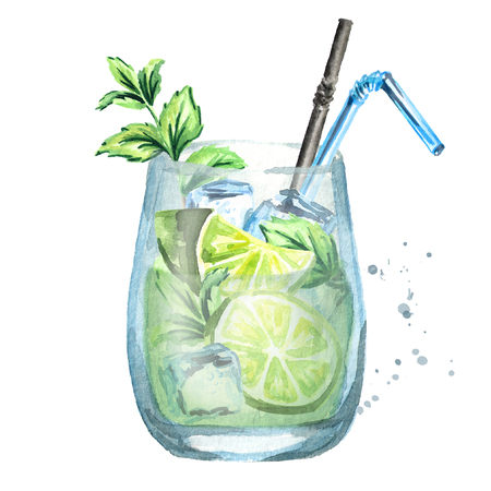 Glass of Mojito. Watercolor hand drawn illustration Stock Photo