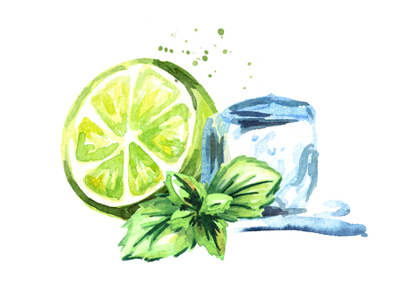 Ice cube and green lime with mint composition isolated on white background. Watercolor hand drawn illustration